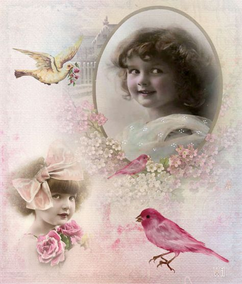 vintage child with birds
