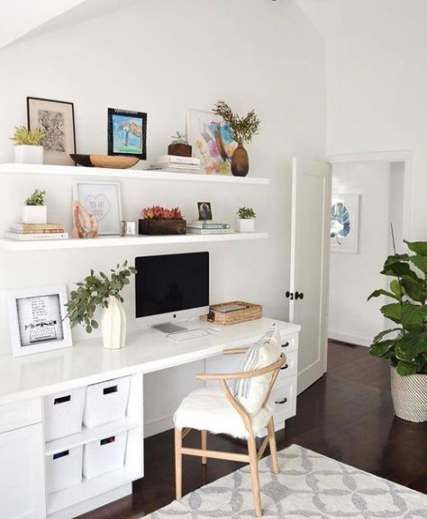 Home Office Shelves Above Desk 67 Best Ideas In 2020 Home Office Shelves Home Office Design Home Office Decor