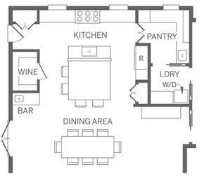 Pretty Good Kitchen Layout Includes Pantry Laundry And Dining