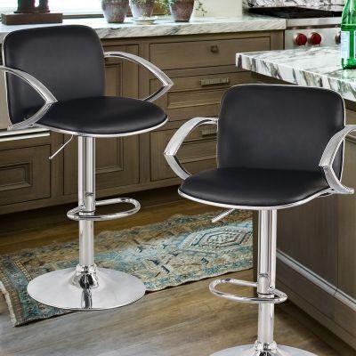 Super Adeco Black Adjustable Hydraulic Lift Durable Bar Stool With Machost Co Dining Chair Design Ideas Machostcouk
