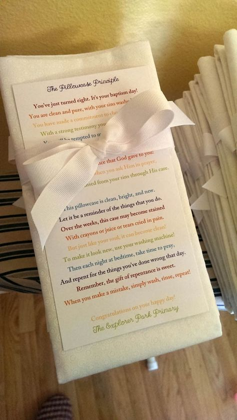 Pillowcase gifts for LDS Primary kids getting baptized this year.