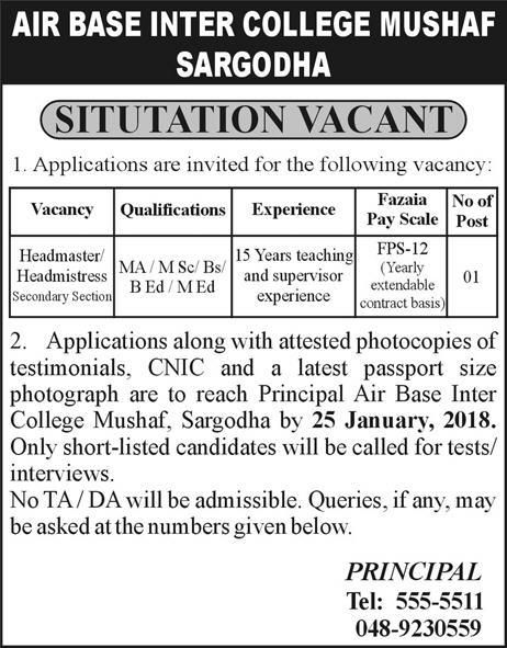 Jobs In Air Base Inter College Mushaf Sargodha 17 Jan 2018 With
