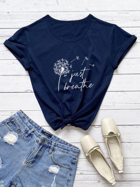 Plus Dandelion And Slogan Graphic Tee