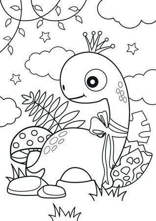Cute Dinosaur In The Forest Coloring Pages Kids Coloring Book Coloring Pages Coloring Books Forest Coloring Pages