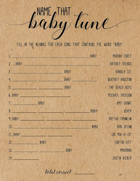 Name That Tune - A Unique Baby Shower Game