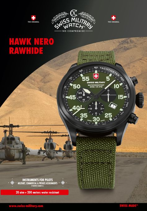 What could be more suitable than to name a military grade pilot's watch after this predatory bird whose mere name strikes lesser fowl with panic! Our model HAWK is distinguished by its oversized pilot's crown, the easily readable dial and the choice between a metal bracelet and a heavy duty, leather lined canvas strap