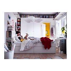 Brimnes Cadre De Lit Rangement Tete De Lit Blanc Lonset 140x200 Cm Tete De Lit Avec Rangement Lit Rangement Meuble Case Ikea