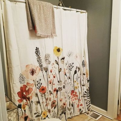 floral wave shower curtain white