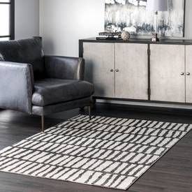 Rugs Usa Black And White Granite Jaggy Striped Rug Contemporary Rectangle 9 X 12 In 2020 Rugs Usa White Rug Rugs