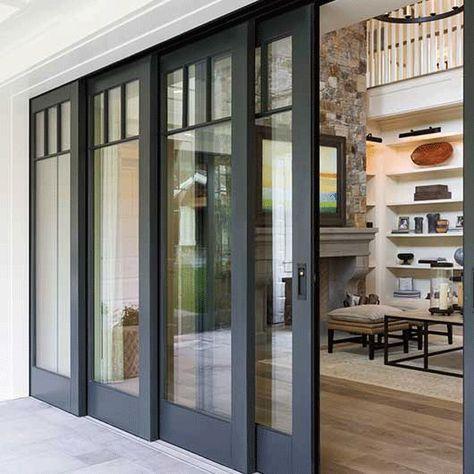 70 Best Modern Farmhouse Front Door Entrance Design Ideas 24 – Home Design Sliding Door Design, Exterior Sliding Doors, Sliding Windows, Double Sliding Patio Doors, Black Windows Exterior, Sliding French Doors, Wall Exterior, Folding Sliding Doors, Exterior French Doors