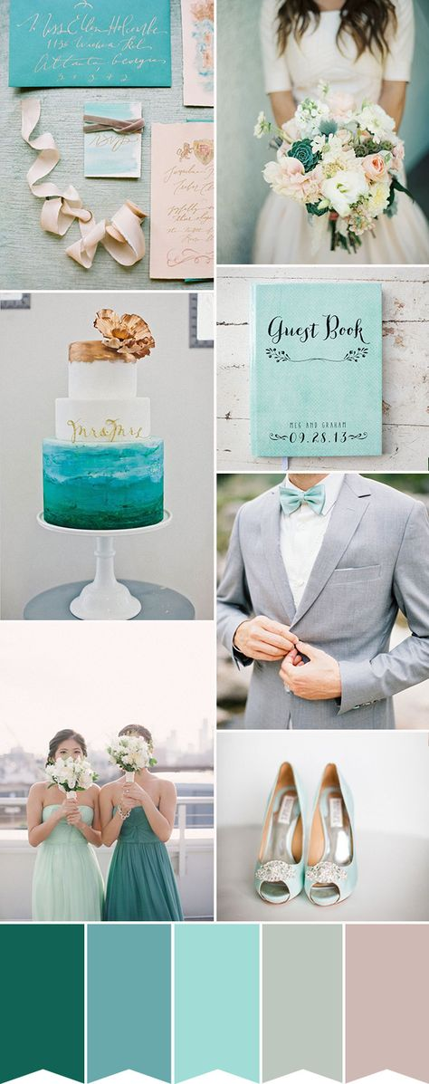 Aqua and Teal are two bright blue wedding colours that are big favourites, but how to make the wedding look elegant and refined? We show you how...