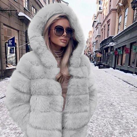 Pretty Women Fashion Luxury Faux Fur Coat Hooded Autumn Winter Warm Overcoat P