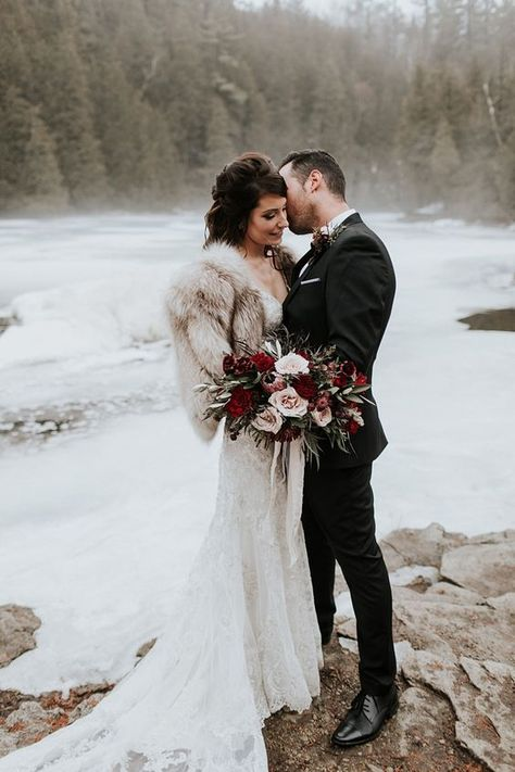 This Brides Vintage Fur Shawl And Plum Cream Wild… Romantic Foggy Winter Wedding. This Brides Vintage Fur Shawl And Plum Cream Wildflowers Are The Perfect Touches. Winter Wedding Fur, Winter Bride, Winter Wonderland Wedding, Winter Wedding Dresses, Winter Weddings, Winter Wedding Bridesmaids, Dress Winter, Wedding Summer, What A Nice Day