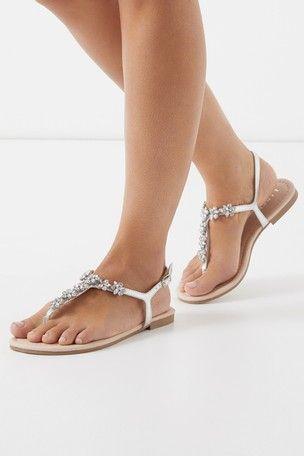 Lipsy Wide Fit Jewelled Flat Sandal