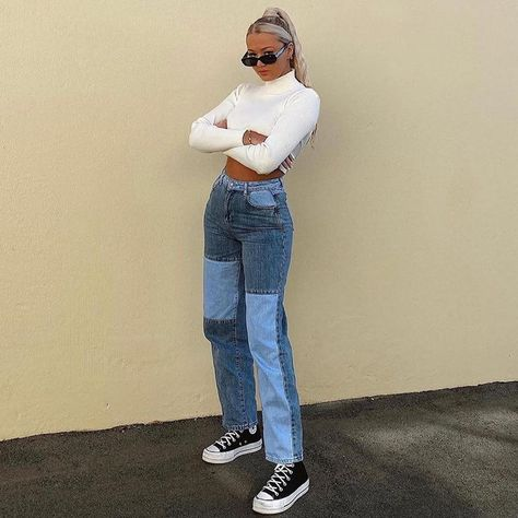 Y2K Aesthetic Blue Patchwork High Waist Jeans