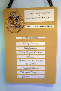 """a """"class schedule"""" sign for our harry potter party."""