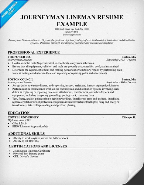 journeyman lineman resume sample resumecompanioncom resume samples across all industries pinterest journeyman lineman lineman and power lineman