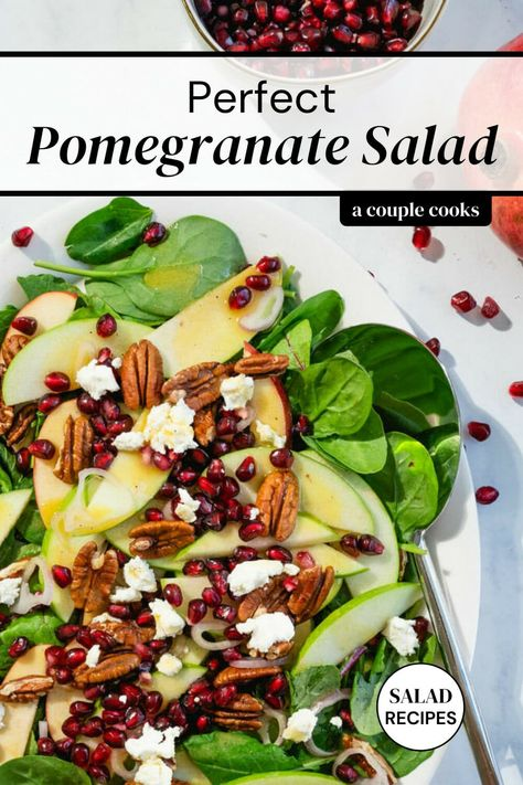 This pomegranate salad is absolutely irresistible! It stars a sweet tart salad dressing and the vibrant crunch of pomegranate seeds. #pomegranate #salad #pomegranatesalad #easysalad #healthysalad #wintersalad #fallsalad