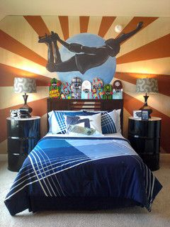 Skateboard artwork designed and painted for Vanessa Emerson.  Great headboard too