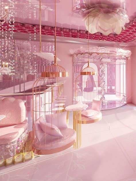 Baby Pink Aesthetic, Aesthetic Bedroom, Home Interior Design, Interior And Exterior, Kawaii Room, Everything Pink, Beauty Room, Beautiful Architecture, Dream Rooms