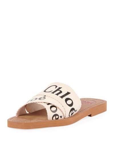 ec497814a0b Chloé Woody Flat Logo Ribbon Slide Sandals in 2019   Products ...