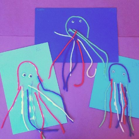 """My kindergarten art class has begun an """"ocean"""" unit. This was instant idea (beats the state's suggested maker project if you ask me :)). Quick and easy octopuses helped students count to eight and practice fine mirror skills at same time."""
