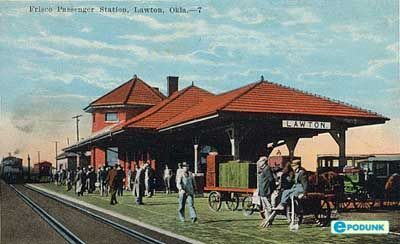 Lawton postcard post card - Train station, Lawton, OK