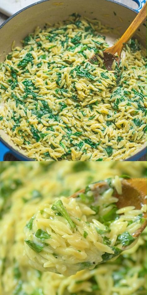 This Spinach Orzo is one of the easiest and tastiest meals I've ever made. Seriously. It's made in one pot, so there is almost no clean-up required, and aside from roughly chopping spinach, there is no prep work either. Yes, you need this in your life! FOLLOW Cooktoria for more deliciousness! #orzo #pasta #spinach #vegetarian #onepot #easyrecipe #cooktoria