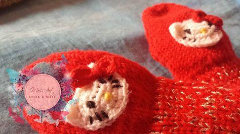 Guanti manopole di lana per bimba.Fatti a maglia e ad uncinetto. Wool knobs gloves for little girl. Knitted and crocheted. mrsartscrap.wix.com/scrapbooking