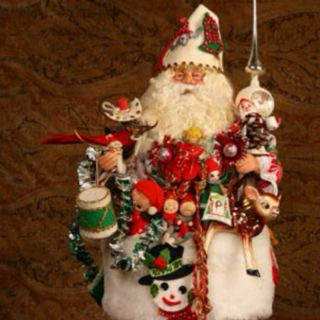 Katherine Collection Art Santa Doll Chic Tassel Ornament Shabby White Christmas