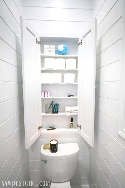 This Recessed Wall Cabinet Built Between The Wall Studs Is The Perfect Place For Toilet Pape Bathroom Wall Cabinets Toilet Paper Storage Small Bathroom Storage