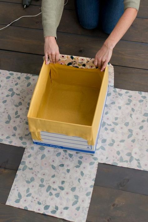 How to make DIY fabric-wrapped storage bins,How to make DIY fabric-wrapped storage bins . How to make DIY fabric-wrapped storage bins, Fabric Storage Boxes, Fabric Boxes, Craft Storage, Storage Ideas, Boxes For Storage, Organization Ideas, Storage Containers, Decorative Storage Boxes, Scrap Fabric