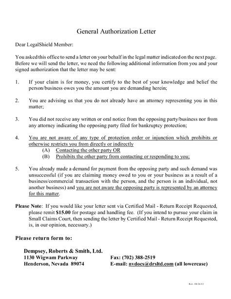 authorization letter free sample for claiming lowrider car - letters of authorization