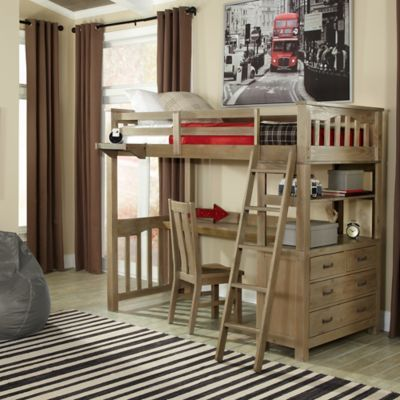 Hillsdale Highland Twin Loft Bed With Desk In Driftwood Twin Loft Bed Twin Size Loft Bed Loft Bed