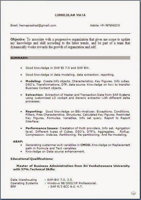 download resume free Sample Template Example ofExcellent - sample sap bw resume