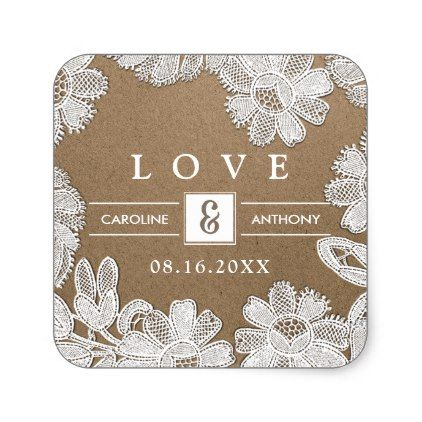 Love White Lace Kraft Paper Wedding Stickers Zazzle Com Wedding Stickers Kraft Paper Wedding Personalized Wedding Stickers