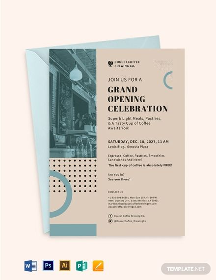 Cafe Opening Invitation Card Template Free Pdf Word Doc Psd Apple Mac Pages Illustrator Publisher Invitation Cards Invitations Party Invite Template
