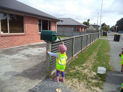 Delivering cards made by the children to neighbouring houses.https://www.facebook.com/pages/Wee-Nippers-Early-Childhood-Centre-Invercargill/219432714852028