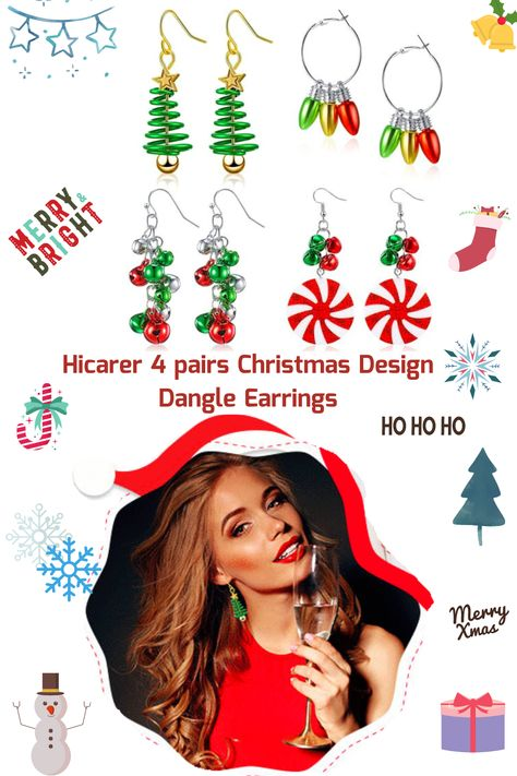 Get in the Christmas mood with this Hicarer Christmas Dangle Earrings Set. #christmasearrings #christmasgiftsforher #xmasgiftideas #Christmas2020 #christmasgift #christmasgiftset #christmasmood #christmastimeiscoming