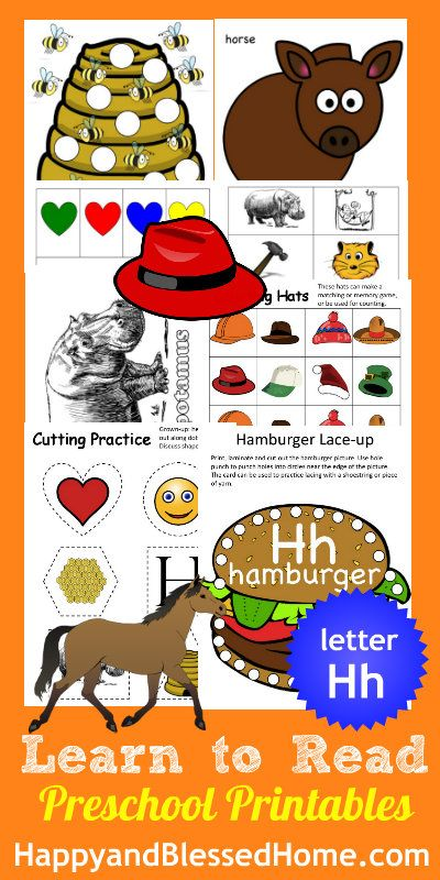 """30+ FREE Preschool Activities with 50+ FREE Printables for Learning to Read Letter """"H"""" from www.HappyandBlessedHome.com #FREEPrintables #PreschoolActivities"""