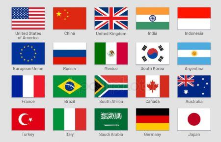 G20 Countries Flags Major World Advanced And Emerging Economies States Officia Affiliate Major W Countries And Flags World Country Flags National Flag