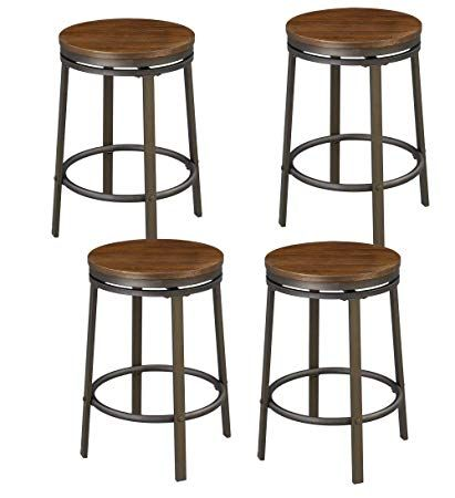 O K Furniture 24 Inch Backless Swivel Bar Stool Industrial Kitchen Counter Height Stool Chairs Wooden Seat P Bar Stools Swivel Bar Stools Counter Height Stools