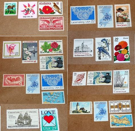 Fifty 55c Stamp Combos Unused Vintage Us Postage Stamps