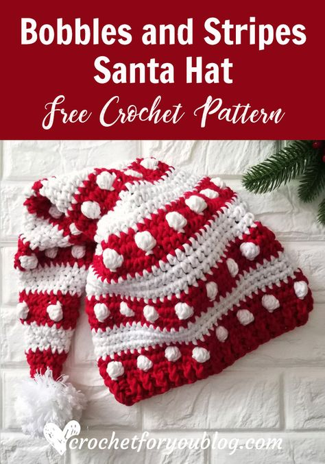 Crochet Bobbles and Stripes Santa Hat Free Pattern - knitting is as easy as . - Crochet Bobbles and Stripes Santa Hat Free Pattern – knitting is as easy as 3 Knitting boil - Crochet Santa Hat, Crochet Beanie, Knitted Hats, Crochet Lovey, Crochet Daisy, Crochet Crafts, Crochet Projects, Free Crochet, Crochet Ideas