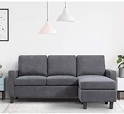 Amazon Com Walsunny Convertible Sectional Sofa Couch With Reversible Chaise L Shaped Couch With Modern Linen Fabric For Small Space Dark Grey Furniture D In 2020