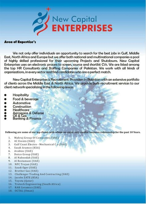 New Capital Enterprises #4, Area of Expertise and Client list - areas of expertise list