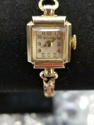 Details About Bulova 10k Gold Filled Women S Watch Square Mechanical Wind Up 5ab 17 J Vintage Bulova Watches Bulova 10k Gold