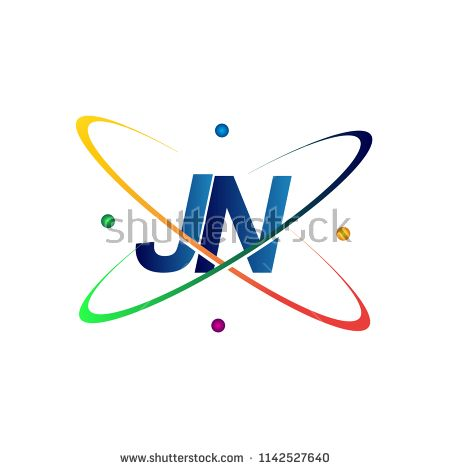Initial Letter Jn Logotype Science Icon Colored Blue Red Green And Yellow Swoosh Design Vector Logo For Business And Science Icons Initial Letters Lettering