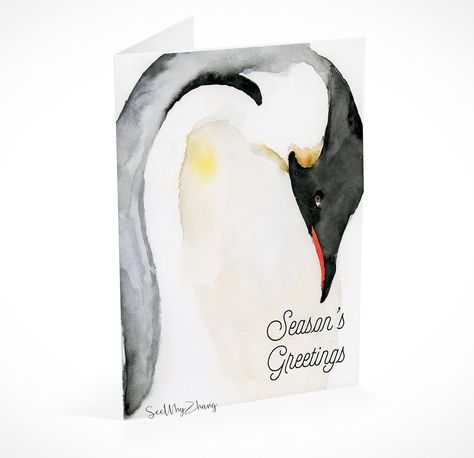 instant download penguin holiday card template christmas card printable with watercolor penguin winter seasons greetings card template by seewhyz