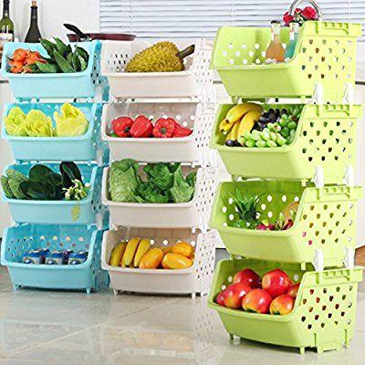 Amazon Com 4pack Market Baskets Yifan Storage Basket Stacking Baskets Organizer For Fruits Vegeta Fruit And Vegetable Storage Vegetable Storage Fruit Storage